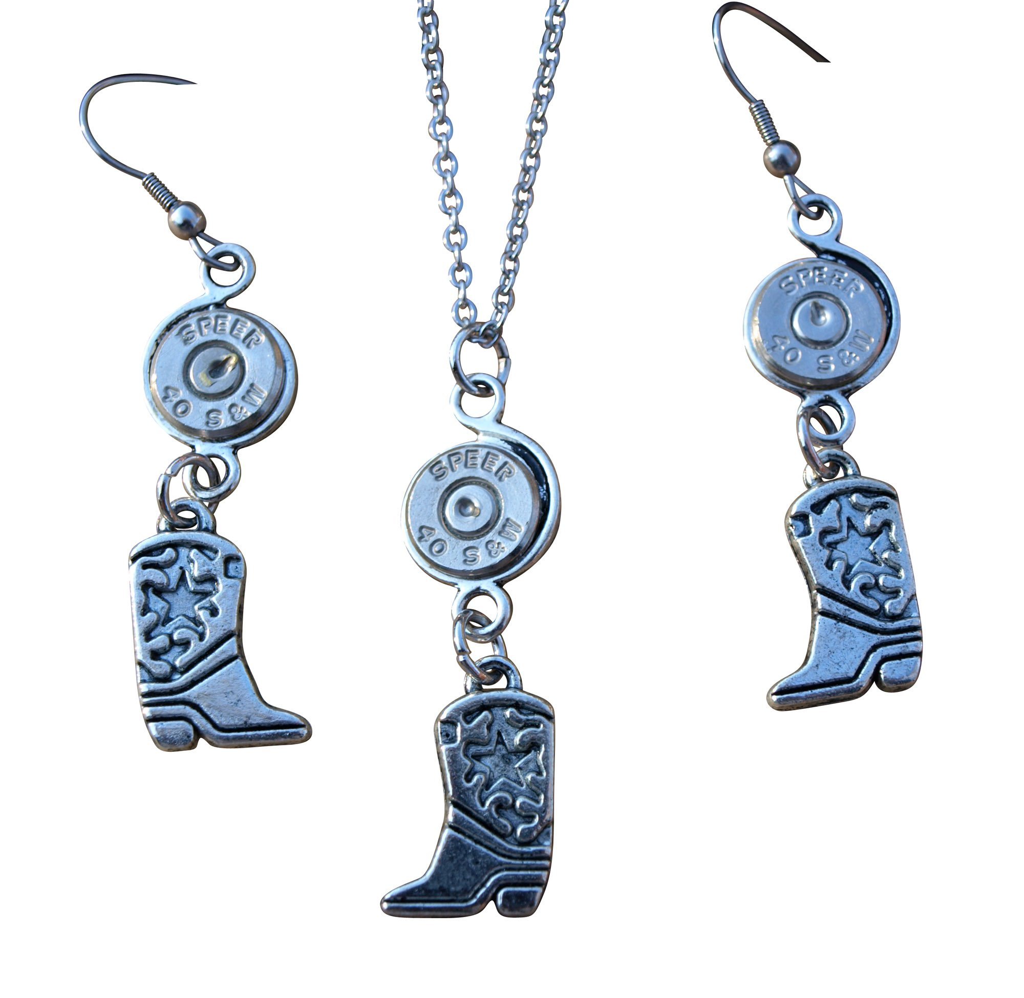 Handmade Bullet Necklace and Earring Set. Boot Charms and Nickel 40 Bullets. Optional crystals. S605