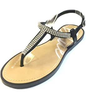 a6753931f Womens T Strap Gladiator Sandals Flats shoes W Iridescent Rhinestones