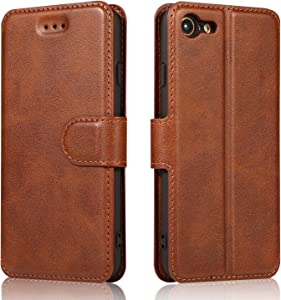 QLTYPRI iPhone 7 Plus iPhone 8 Plus Case Premium PU Leather Simple Wallet Case TPU Bumper [Card Slots] [Kickstand] [Magnetic Closure] Shockproof Flip Cover for Apple iPhone 7P iPhone 8P - Brown