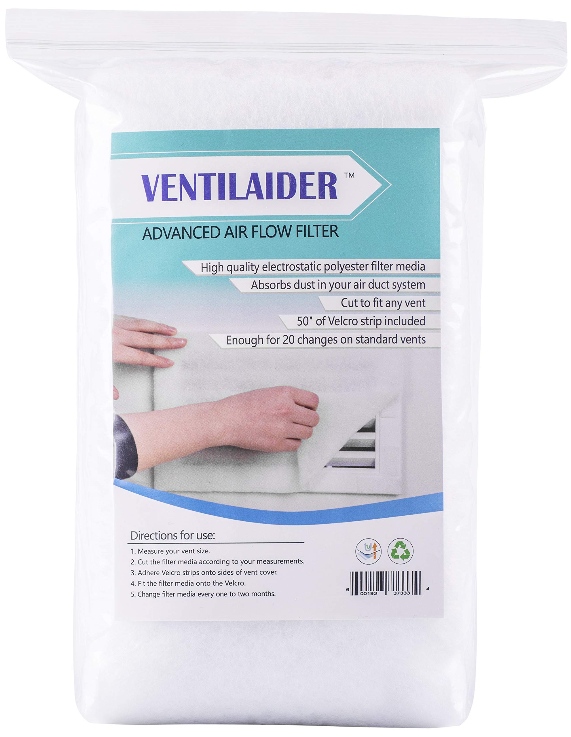 Ventilaider Complete Air Vent Register Filter Set Cut to Fit Any Size 16'' x 60'' & 50'' Velcro Tape, Electrostatic Fabric. Purifies Air, Helps Reduce Allergies from Dusty Ducts, AC Furnace System