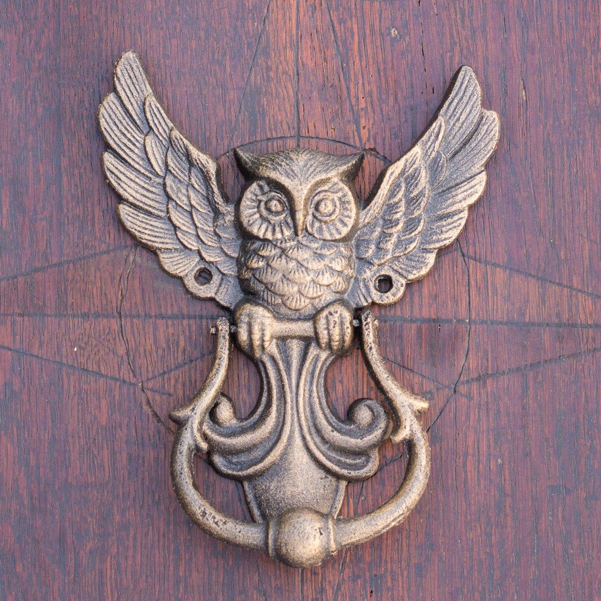 antikas–Haute Qualité heurtoir de porte Chouette heurtoir de Maison Portes en fonte Antique Bronze laqué
