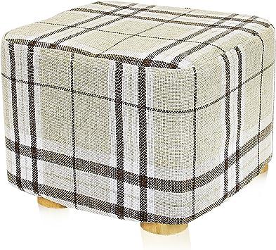 Striped Cover DL furniture Square Shape Linen Fabric 4 Leg Stands Square Ottoman Foot Stool Short Leg