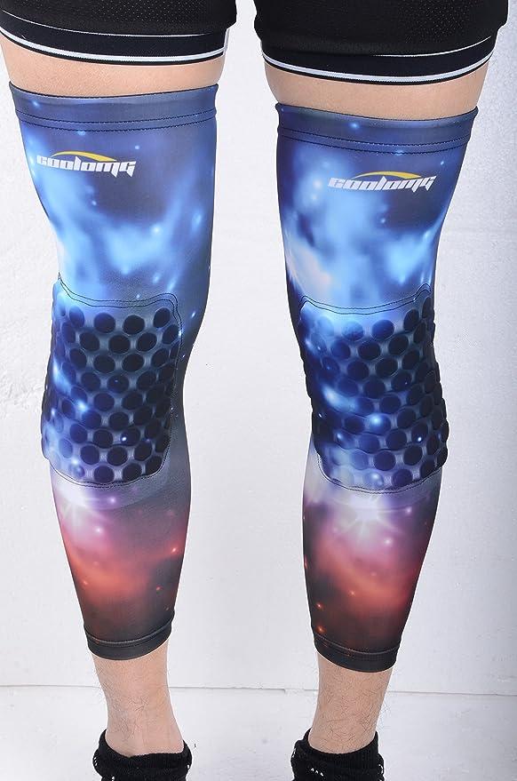 COOLOMG rodilleras (par) para los niños de baloncesto para jóvenes adultos Nebulosa de la NASA Galaxy largo de la pierna de la rodilla de las mangas del ...