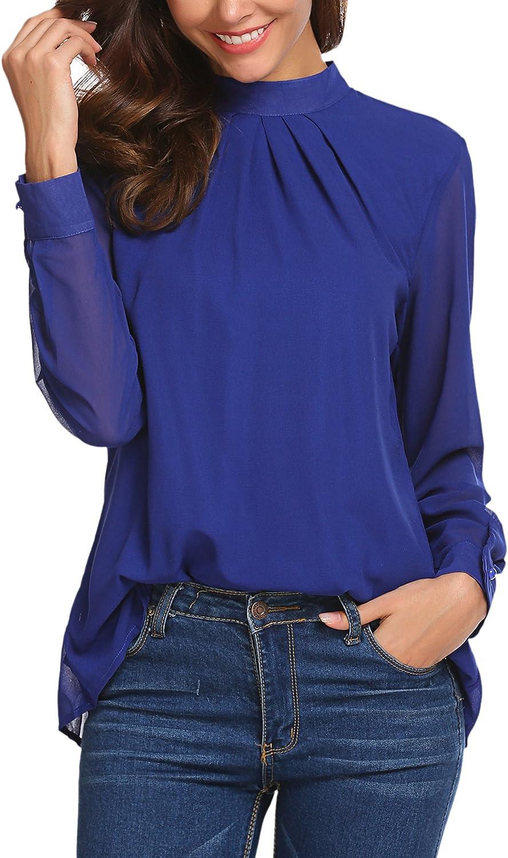 SoTeer Chiffon Blouse Women Loose Casual Long Sleeve Tops Layered Dress Shirts
