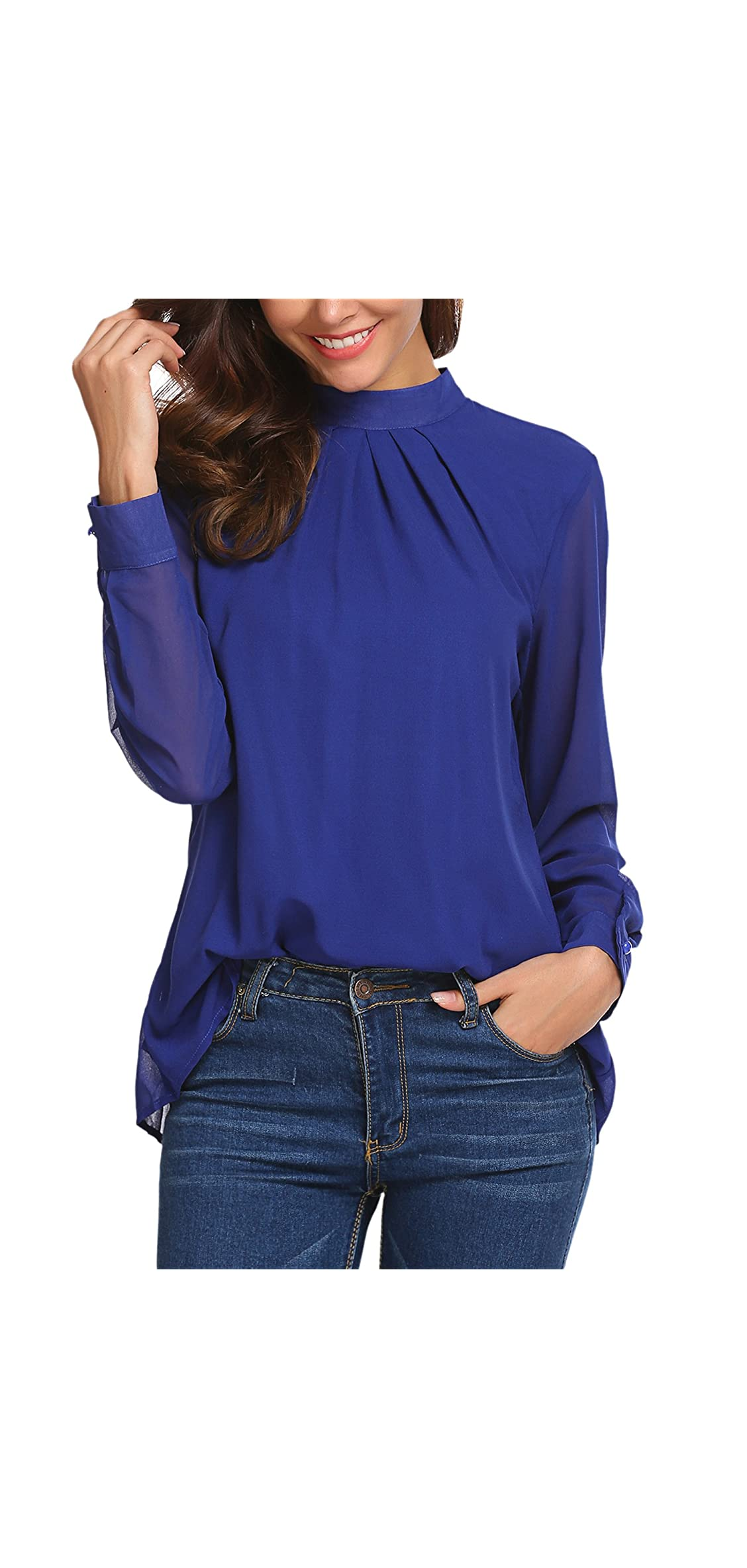 Long Sleeve Chiffon Blouse Women's Loose Casual Cuffed
