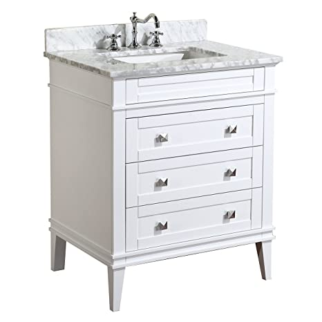 Kitchen Bath Collection KBC-L30WTCARR Eleanor Bathroom Vanity with Marble  Countertop, Cabinet with Soft Close Function & Undermount Ceramic Sink,  30\