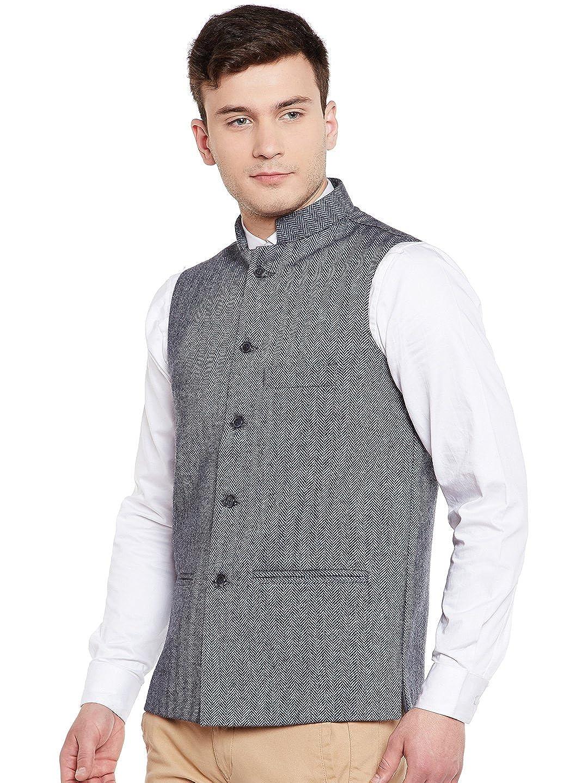Wintage Mens Tweed Wool Festive and Casual Nehru Jacket Vest Waistcoat Multiple Colors