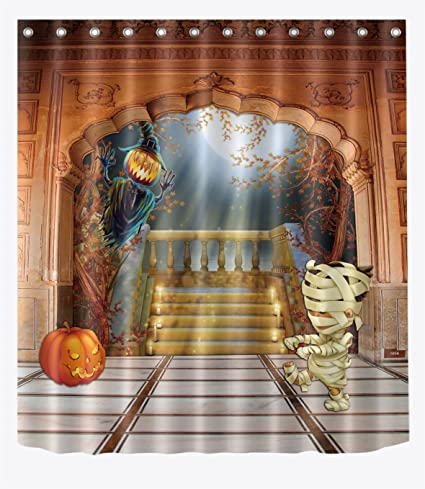 LB Mummy Flying Witch In Haunted Mansion Shower Curtain Stall Halloween Themed Decor Bathroom