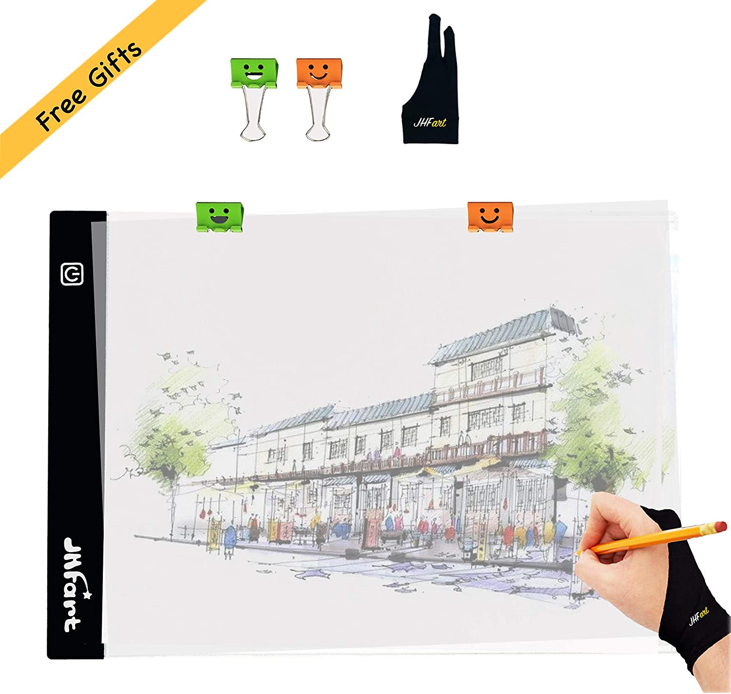 2019 A4S 5D Diamond Painting Light Pad Tracing Table Light Box Memory Function Led Drawing Board Artcraft Tattoo Watercolour Copy Quilting Xray Pad with Clips and Artist Glove