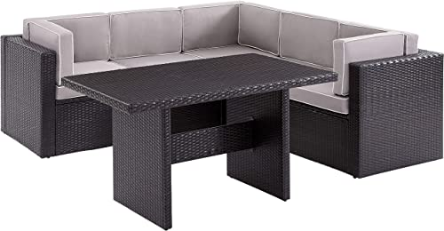 Crosley Furniture KO70151BR-GY Palm Harbor Outdoor Wicker 6-Piece Sectional Seating Set