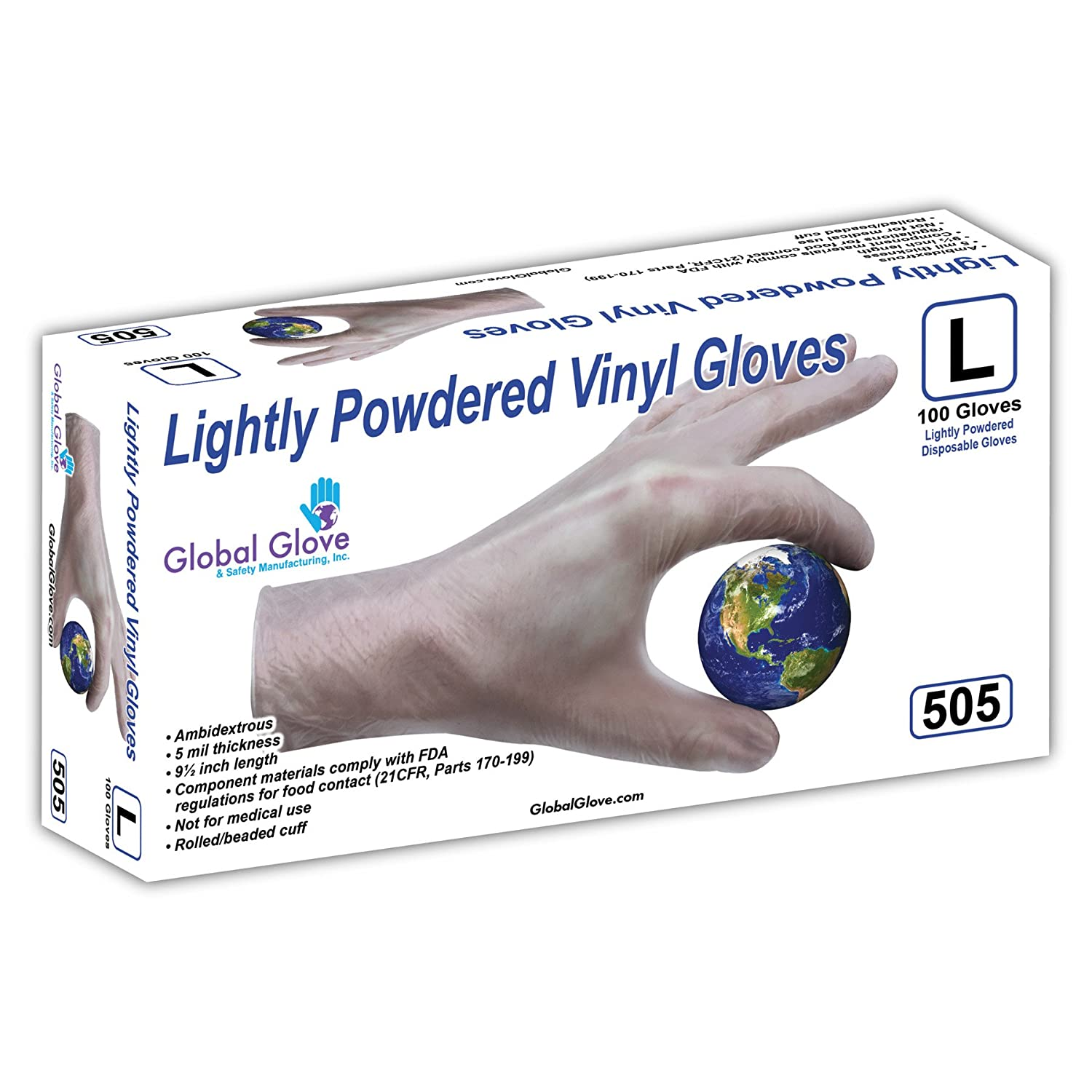Small Disposable Clear Case of 1000 Powdered 5 mils Thick Global Glove 505 Lightly Vinyl Glove