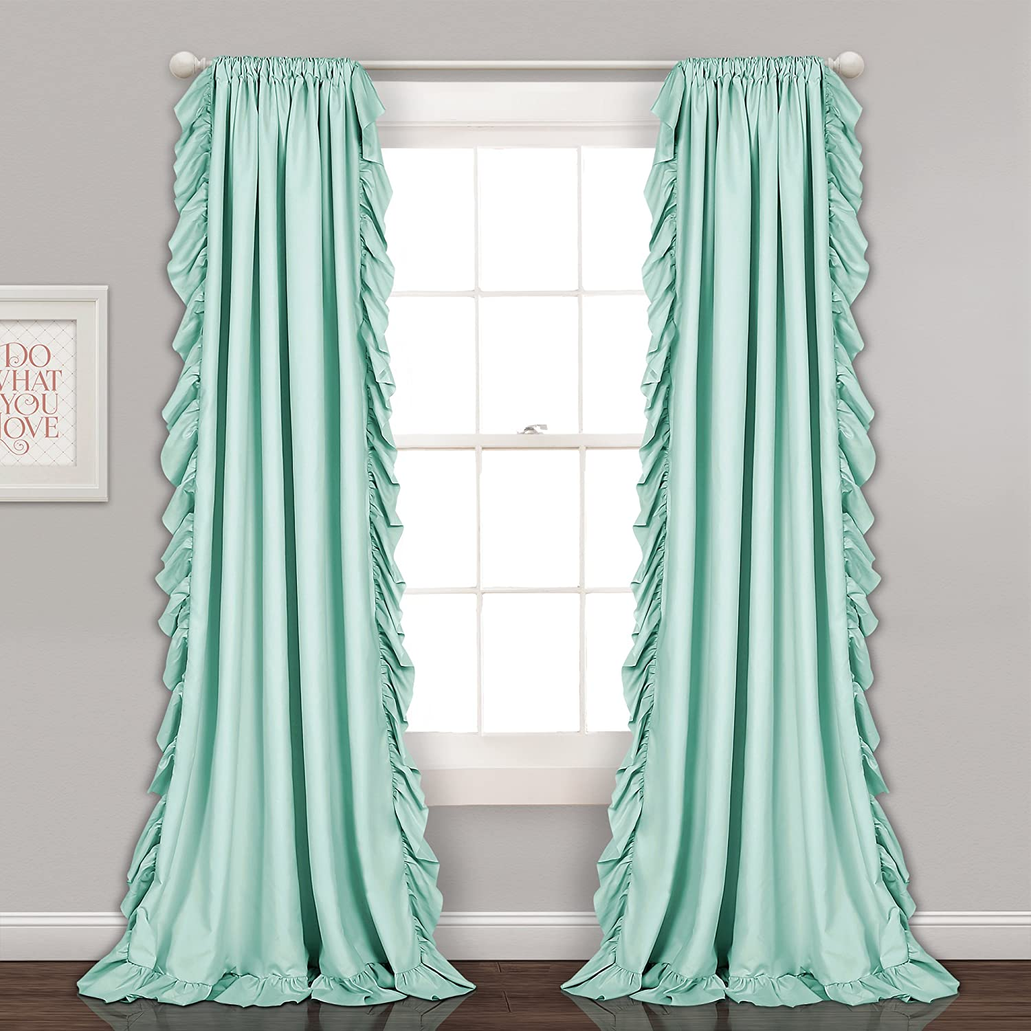 "Lush Decor Reyna Light Blue Window Panel Curtain Set for Living, Dining Room, Bedroom (Pair), 84"" x 54"", 2 Count"