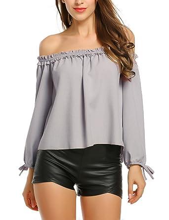 Parabler Damen Schulterfrei Bluse Elegantes Oberteil Langarm Trägerlos Shirt  Tunika Sexy Oversize Top Lässige Locker T-Shirt  Amazon.de  Bekleidung 9d832cb04e