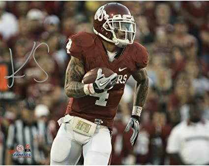 Kenny Stills Oklahoma Sooners Autographed 8 quot  x 10 quot  Crimson  Uniform With Ball Photograph - 0ab402325
