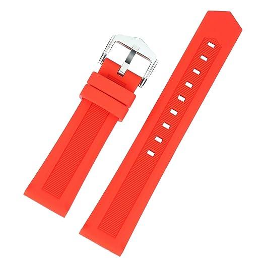 correa de reloj de pulsera de caucho naranja deportivo de neopreno de buceo de 20 mm de alta gama para el reloj tradicional reloj inteligente: Amazon.es: ...