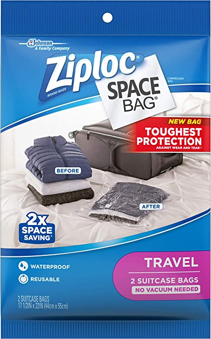 Ziploc 13 Space Saver Vacuum Seal /& Roll-Up Space Bags Storage Set Ziplock NEW