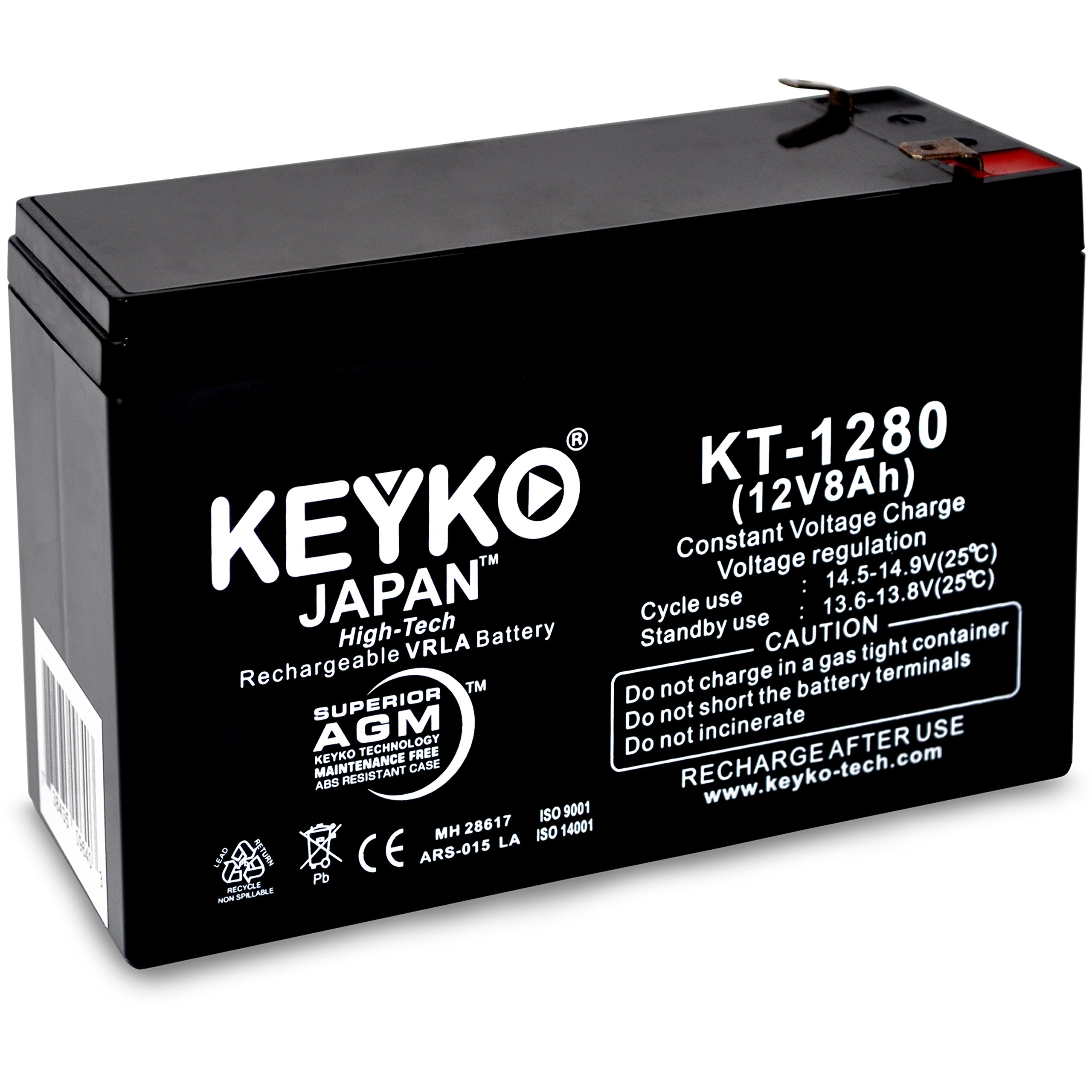 Go-Ped ESR750 Electric Speed Racer 750 | Battery 12V 8Ah Fresh & Real 8Amp AGM/SLA Rechargeable Replacement Designed for Scooter - Genuine KEYKO - F2 Terminal W/F1 Adapter