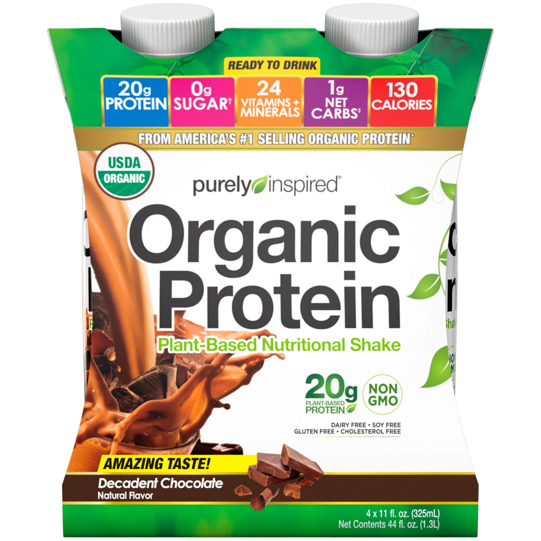 Purely Inspired Organic Protein Shake, Ready to Drink, 20g Plant Based Protein, No Sugar, Low Carbs, Naturally Flavored, Decadent Chocolate, 12 Servings (12 x 325mL) by Purely Inspired