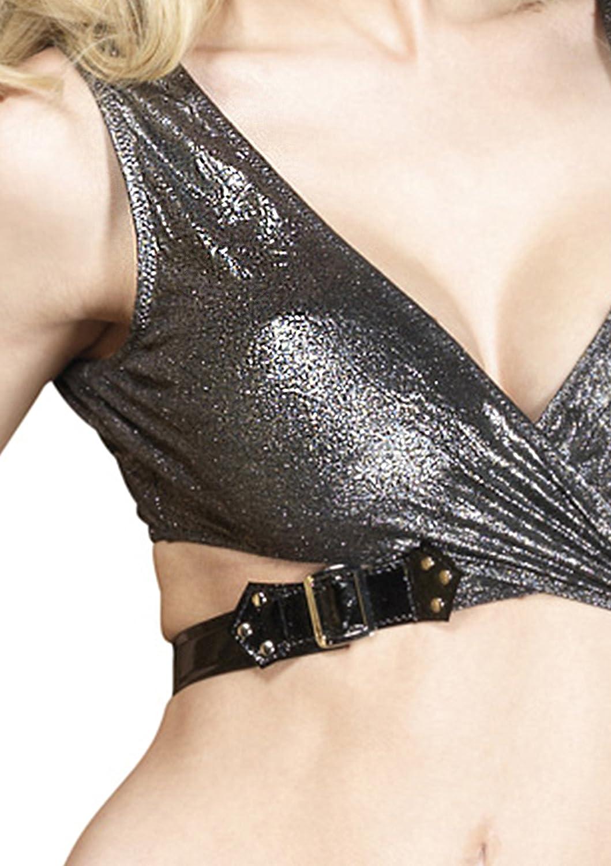 297ba8c6e Amazon.com  Leg Avenue Women s Platinum Crushed Foil Wrap Top and Garter  Mini Skirt  Adult Exotic Apparel  Clothing