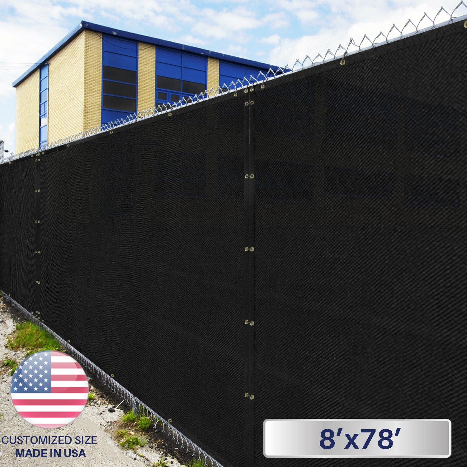 8' x 78' Privacy Fence Screen in Black with Brass Grommet 85% Blockage Windscreen Outdoor Mesh Fencing Cover Netting 150GSM Fabric - Custom Size