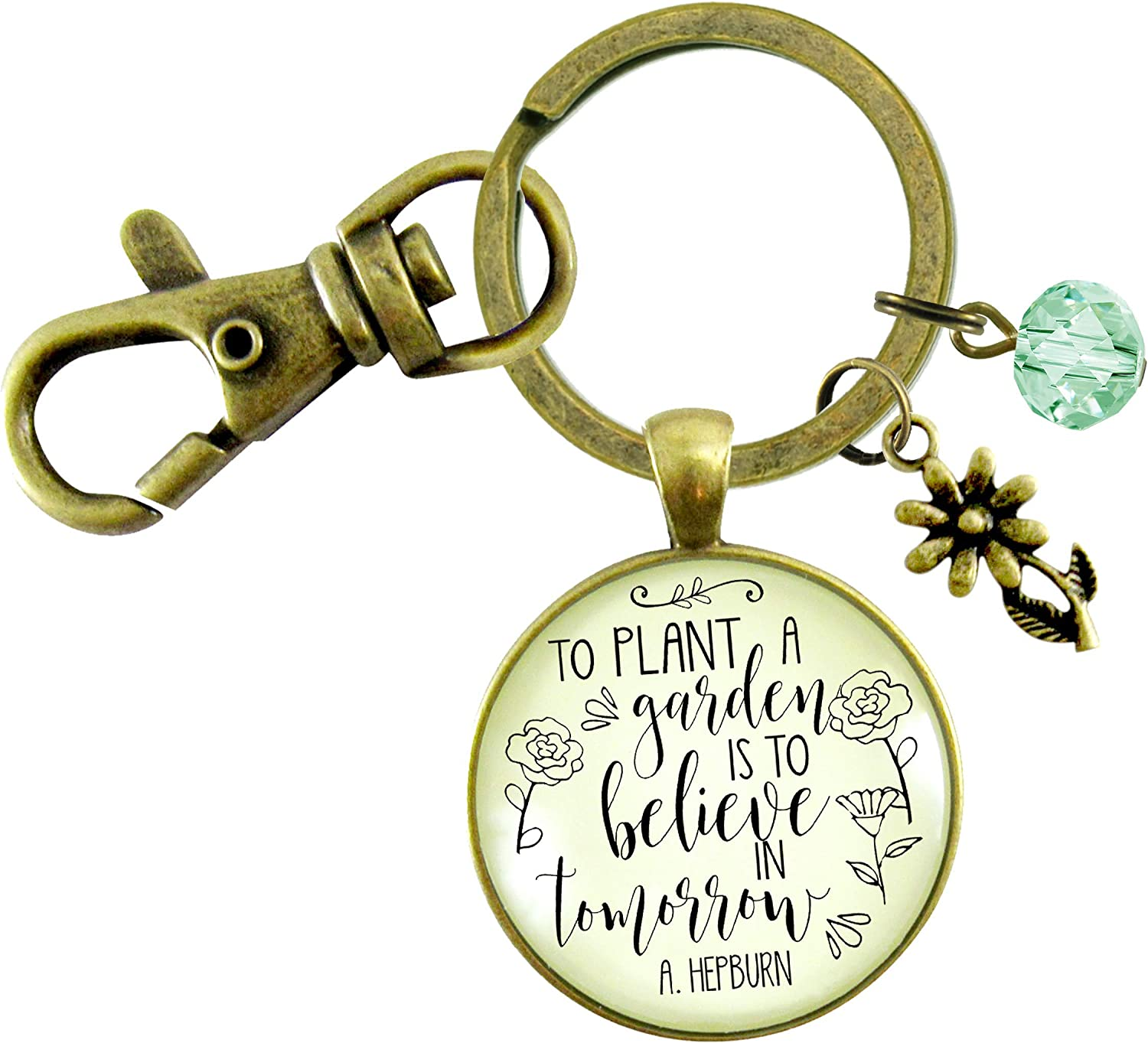 Gutsy Goodness Love To Garden Keychain To Plant a Garden Believe in Tomorrow Quote Gift Jewelry