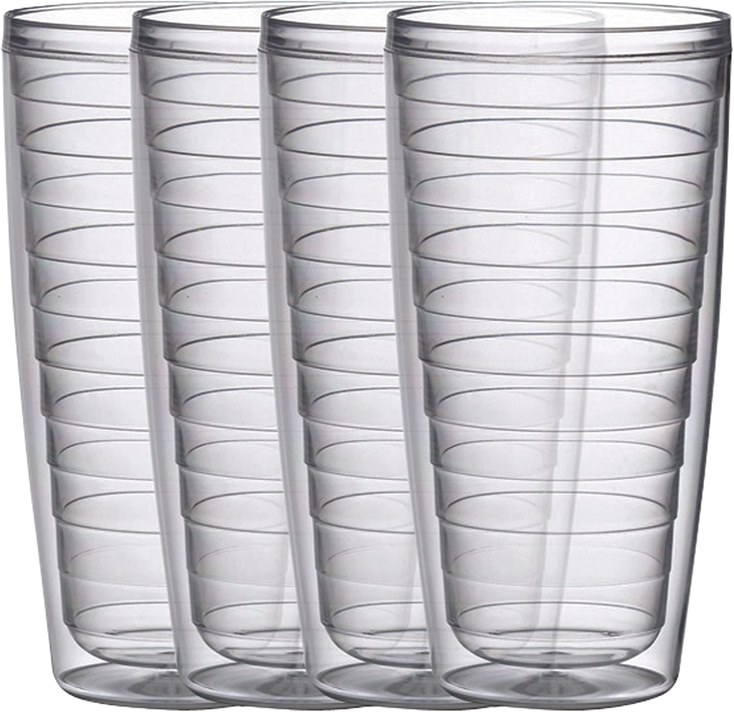 Plastic Tumblers Insulated Double Wall 24 Ounce Set Of 4 Sunset Collection