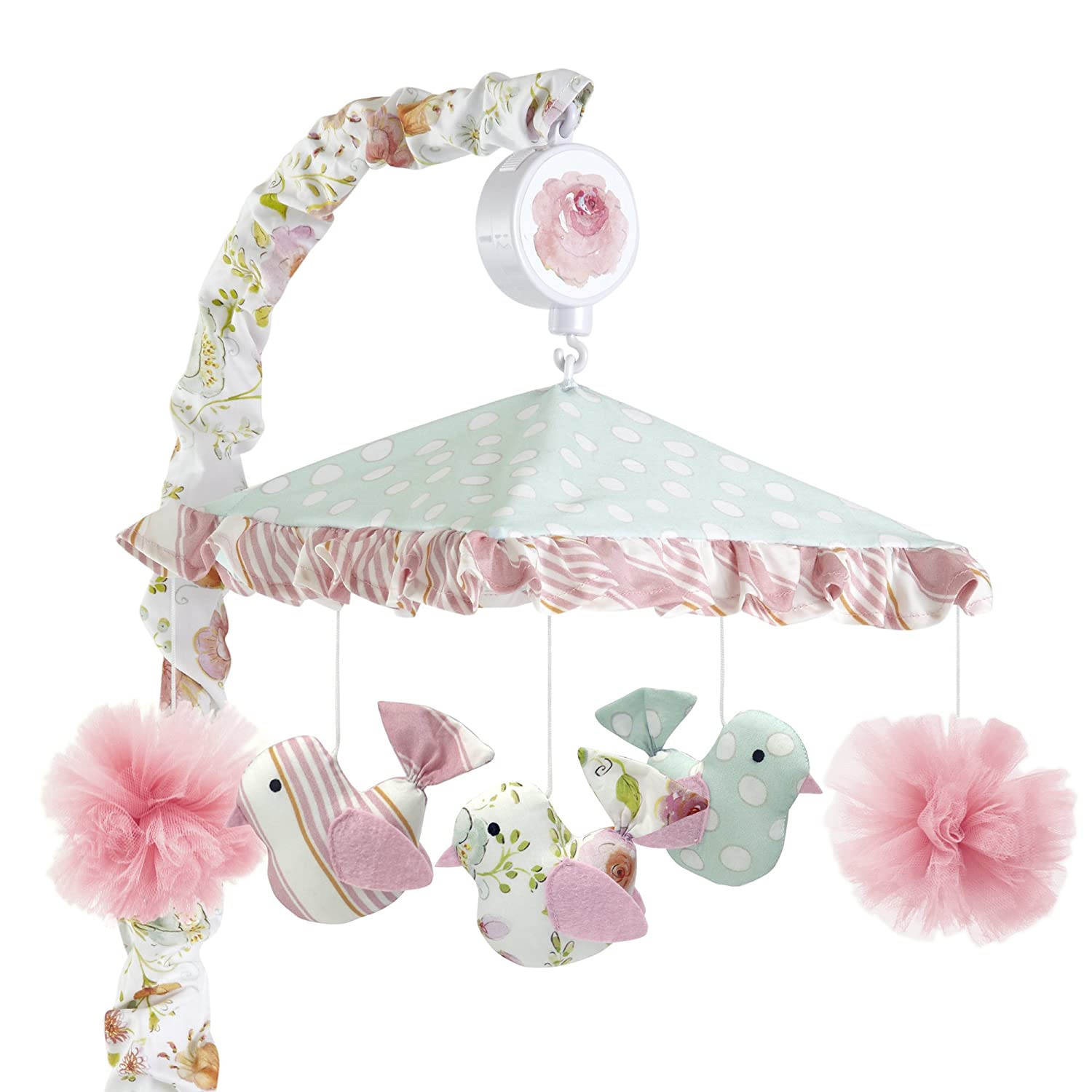 Happi by Dena Sweet Spring Floral Birds Musical Mobile, Pink/Blue Lambs & Ivy 683018