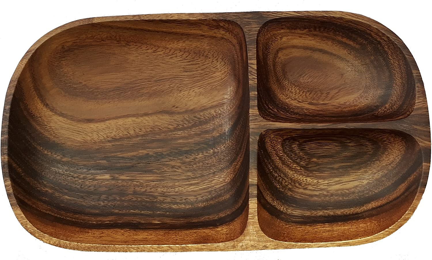 """SDS HOME IMPORTS Natural Forested Acacia Wood Oval Serving Kitchen Tray For Food with 3 Sections, 12"""" x 7"""" x 1.5""""H"""