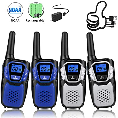 Walkie Talkies Rechargeable, 4 Pack Easy to Use Long Range Walky Talky for Adult Handheld Two Way Radio with NOAA for Hiking Camping (2Blue & 2Silver with Regular Micro-USB Charger/Battery/Lanyard): Toys & Games