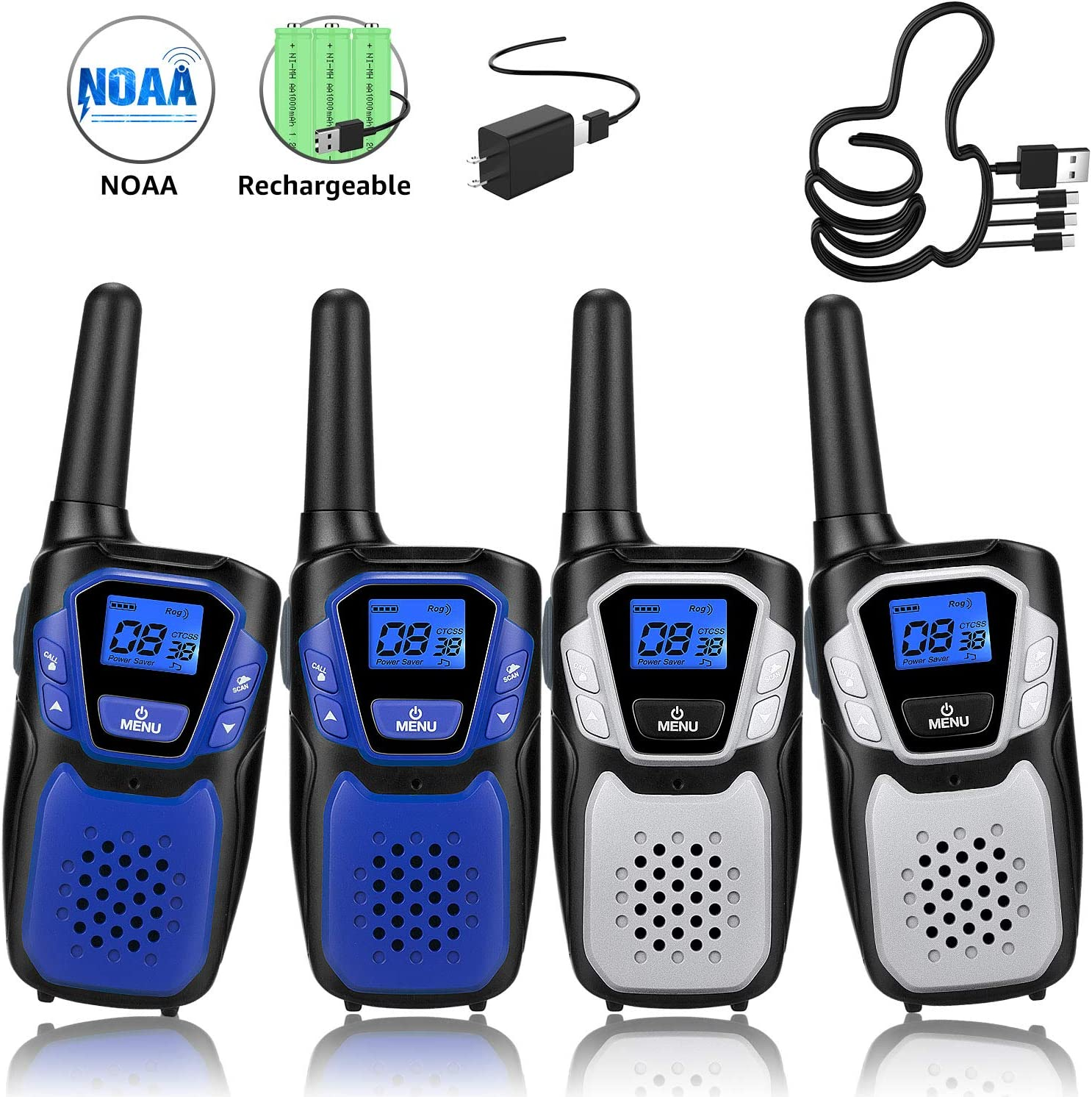 Walkie Talkies Rechargeable, 4 Pack Easy to Use Long Range Walky Talky for Adult Handheld Two Way Radio with NOAA for Hiking Camping (2Blue & 2Silver with Regular Micro-USB Charger/Battery/Lanyard)