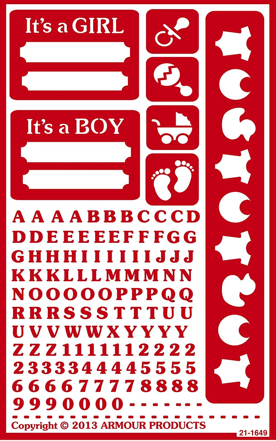 Armour Products Over N Over Glass Etching Stencil, 5-Inch by 8-Inch, It's a Boy It's a Girl 21-1649