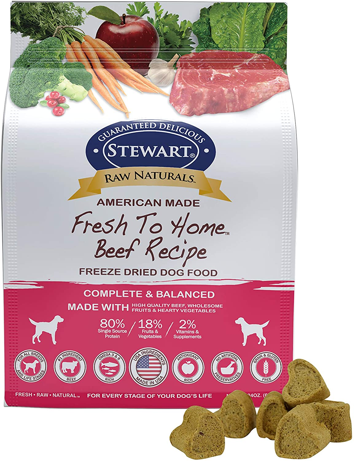 Stewart Raw Naturals Freeze Dried Dog Food Grain Free Made In Usa With Beef Fruits Vegetables For Fresh To Home All Natural Recipe 24 Oz Pet Supplies