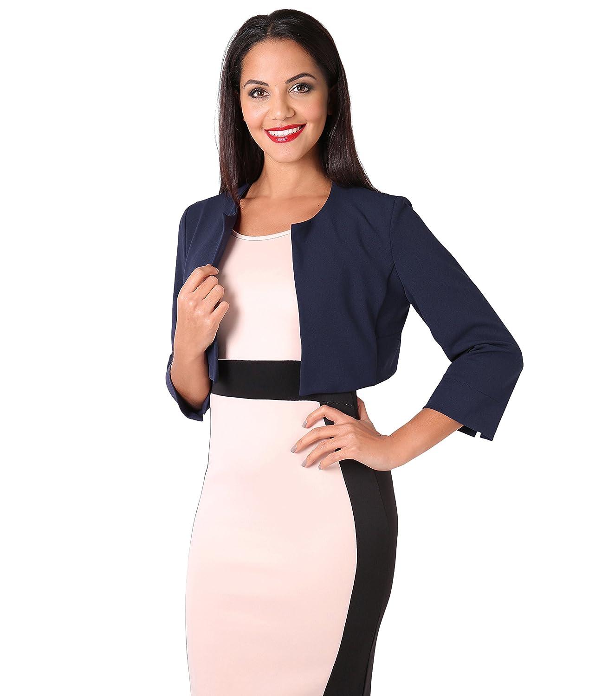 KRISP Womens 3/4 Lace Sleeve Cropped Evening Shrug Short Bolero Cardigan Jacket at Amazon Womens Clothing store: