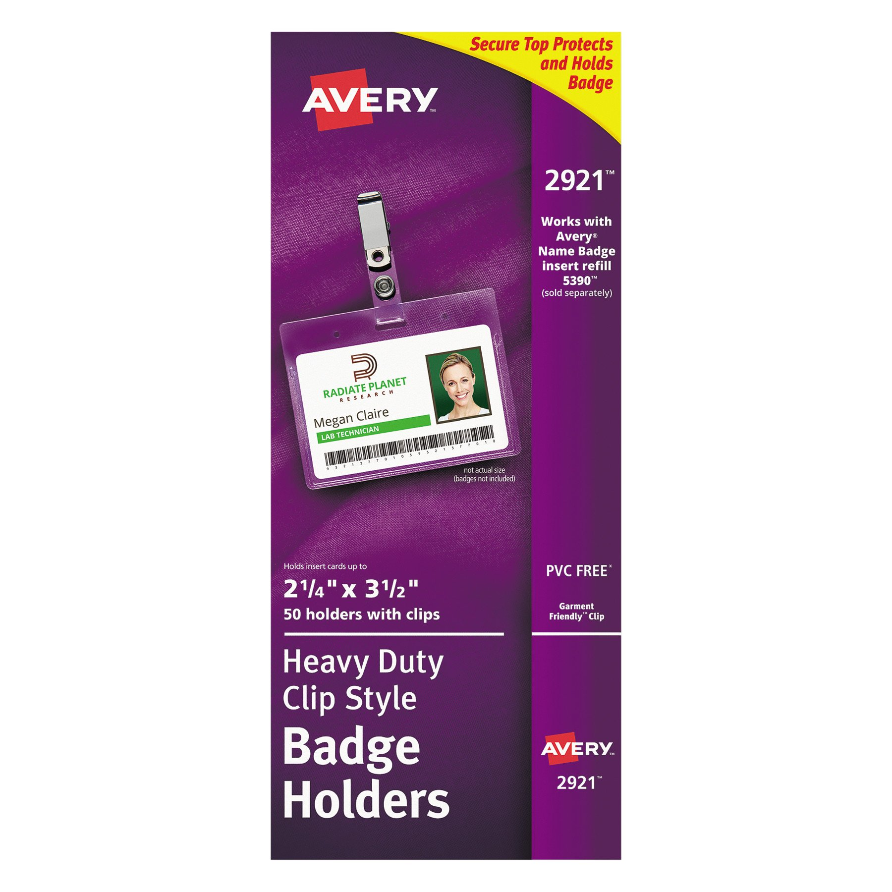 Avery AVE2921 Clear Heavy-Duty Clip Style Landscape Badge Holders, 2-1/4'' x 3-1/2'', Box of 50 (2921)