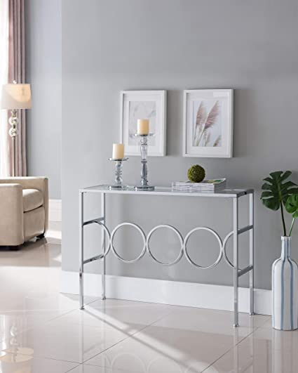 on sale 6c18c 47b81 Chrome Finish Glass Contemporary Console Sofa Table with Circle Designs