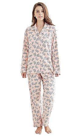 c646fad1e5 Tony & Candice Women's 100% Cotton Long Sleeve Flannel Pajama Set Sleepwear  (Small,