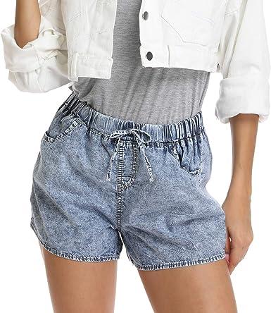 Womens Denim Shorts Boyfriend Jeans Casual Beach Ripped Button Pants Trousers