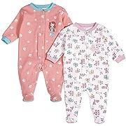 Pekkle Baby 2-Pack Footed Sleeper, Snap, Sleep & Play Onesie Unisex Pajamas, Pink/Pink, 3 Months