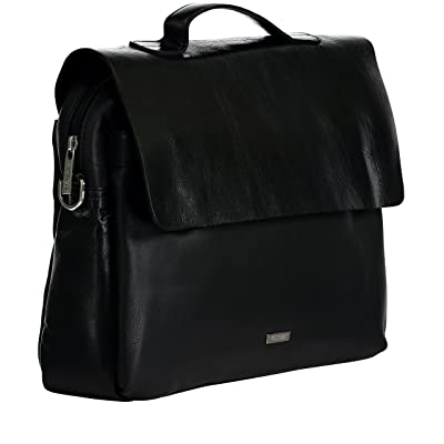 Ochnik Men's Black Genuine Leather Briefcase with Buckles, Shoulder Strap and Padded iPad, Tablet Protection on sale