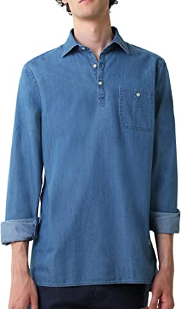 Scalpers Camisa POLERA Denim - Blue Denim / 42: Amazon.es: Ropa y accesorios