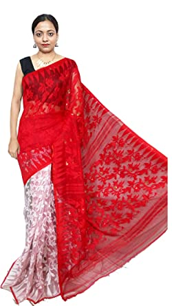 9fd7582836a Red Sarees Women s Soft Dhakai Jamdani Saree