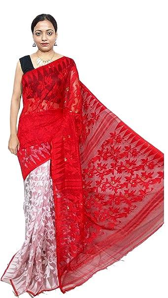a4126780391 Red Sarees Women s Soft Dhakai Jamdani Saree