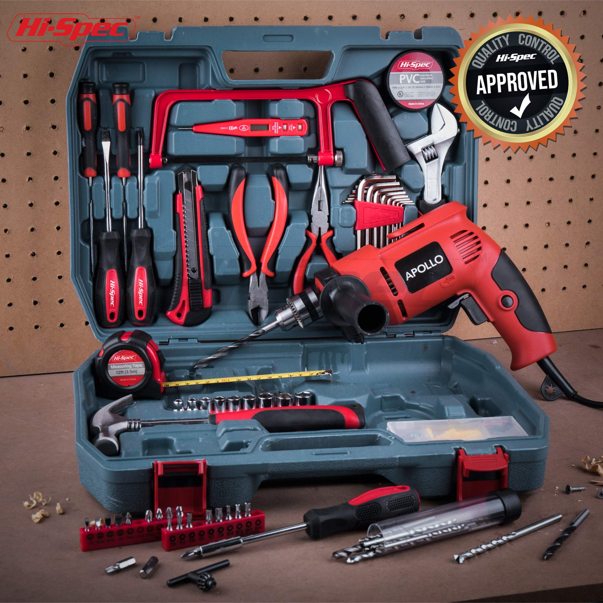 Hi-Spec Complete 130pc 110V 300W Hammer Power Drill & Hand Tool Set Combo Kit with Hacksaw, Pliers, Claw-Hammer, Wrench, Box Cutter, Hex Keys, Screwdrivers, Socket and Driver Bits, Voltage Tester Case by Hi-Spec (Image #7)