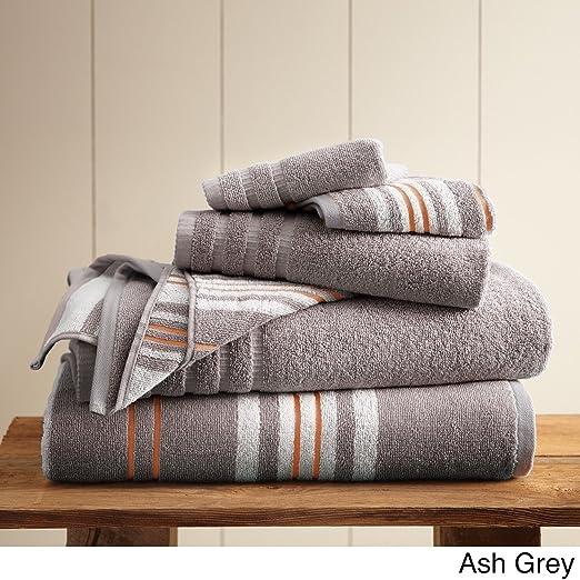 Costa del Pacífico textiles 6 pc hilo teñido toalla blanco de rayas de racer, juego de 6: Amazon.es: Hogar