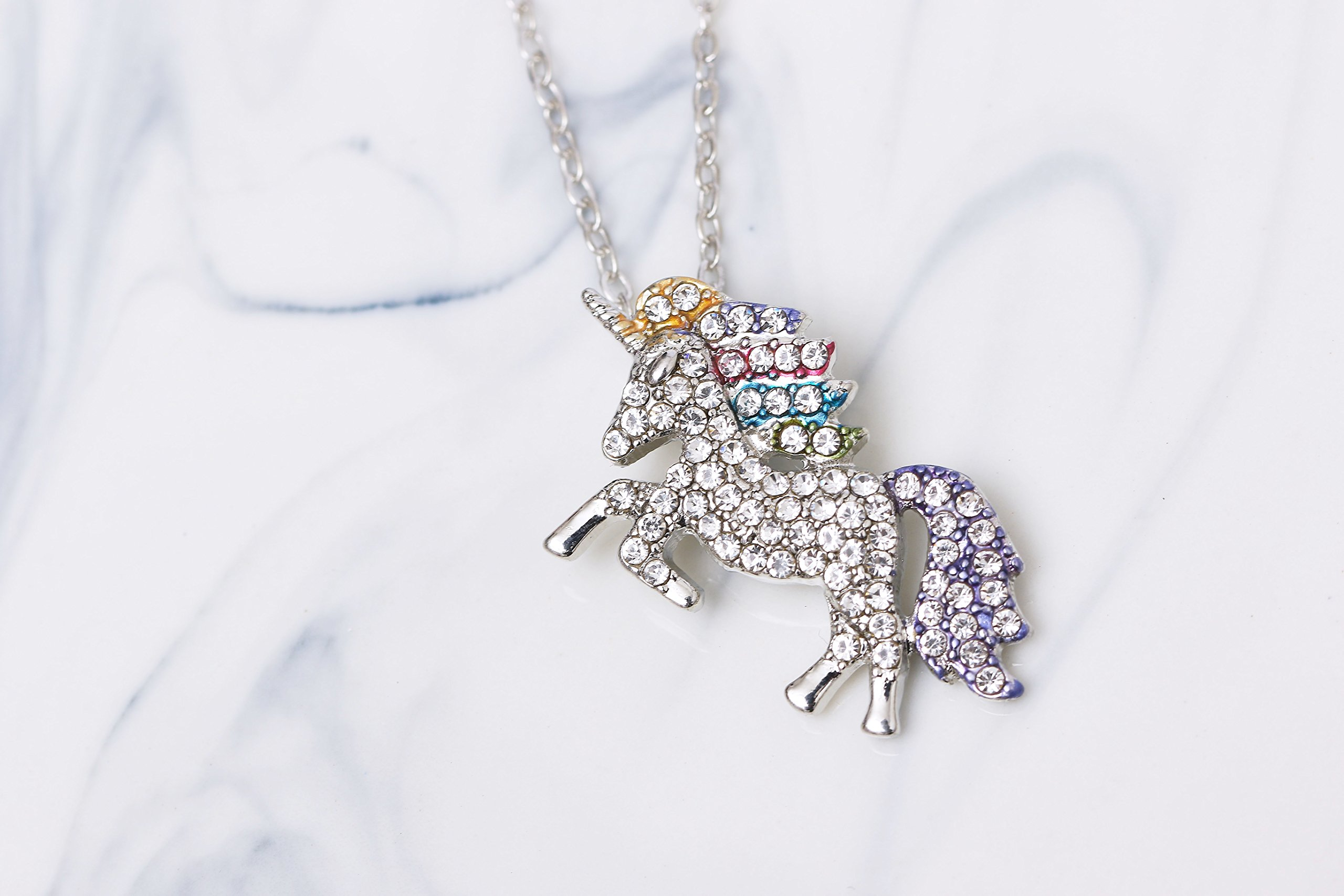MUHU Fashion Rainbow Rhinestones Unicorn Pendant Necklace 5