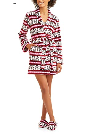 bf5cdcff2f Amazon.com  Women s Cozy Plush Fleece Robe with Slippers  Clothing