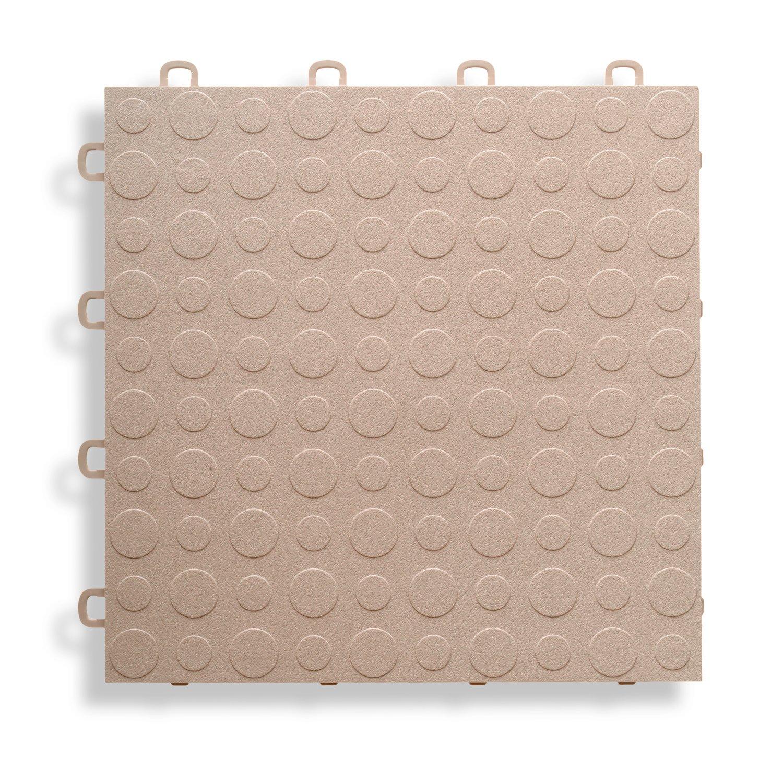 BlockTile B0US5130 Garage Flooring Interlocking Tiles Coin Top Pack, Beige, 30-Pack