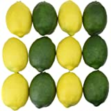 NKTM 12 Pieces Artificial Lifelike Lemon Realistic Decorative Fake Fruit Simulation Home Kitchen Decoration Yellow and Green