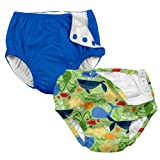 i play. 2-PK Absorbent Boys Reusable Baby Swim Diapers Sealife and Royal Blue 18M
