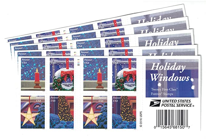 Amazon Com Usps Holiday Windows Forever Stamps Book Of 20 Office